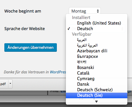 Wordpress Admin Einstellung Sprache Website: Deutsch (Sie)