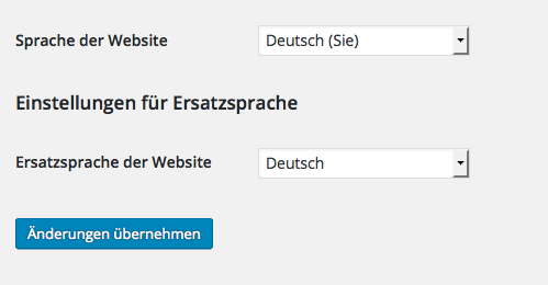 Wordpress Deutsch (Sie) - Plugin Language Fallback, Auswahl Ersatzsprache Deutsch