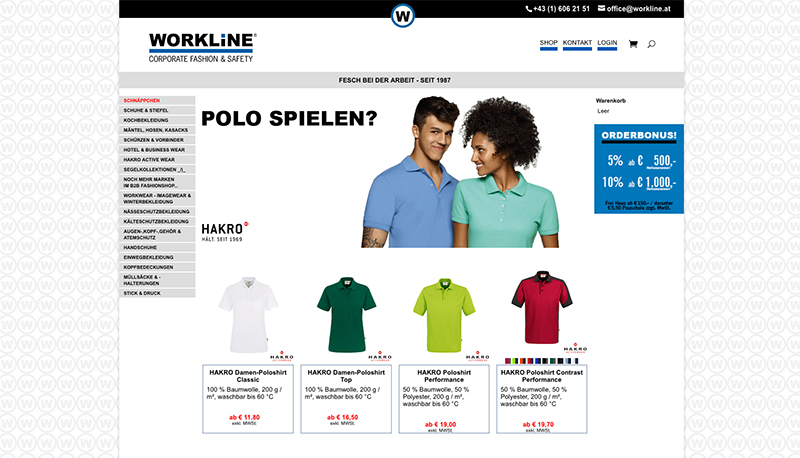 www.workline.at – Webshop Programmierung